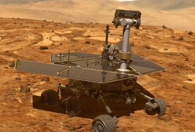 Artist's illustration of NASA's Opportunity on the surface of Mars (Credit-NASA Jet Propulsion Laboratory)
